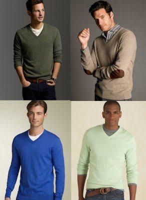 Plain v-neck mens sweater