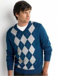 V Neck Argyle Men's Sweater