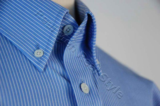White Blue Button Down Collar