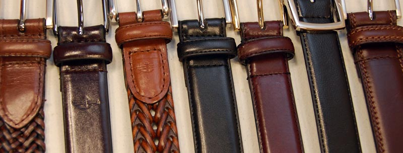 A range of brown and black belts.