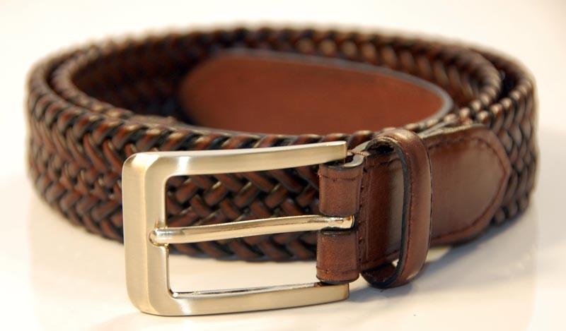 Brown Braided Belt rolled