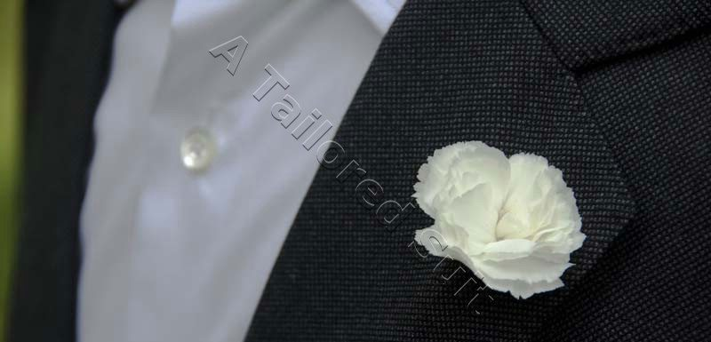 White carnation mens jacket details