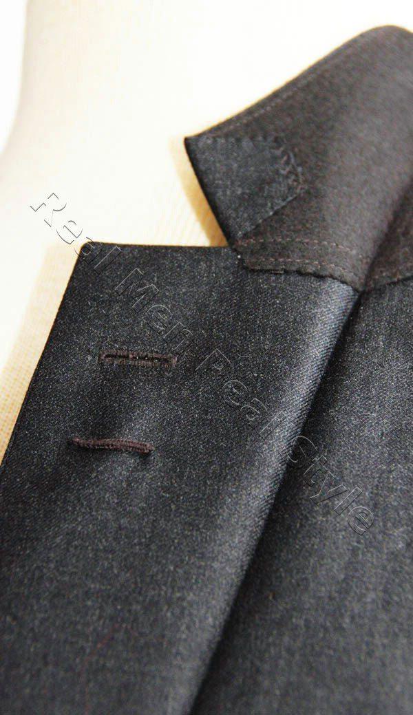 charcoal grey men jacket lapel latch