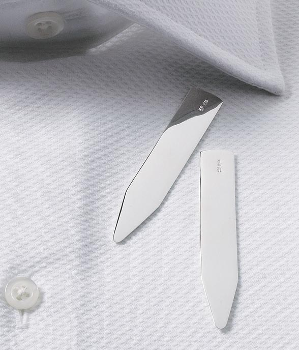 Mens silver collar stays