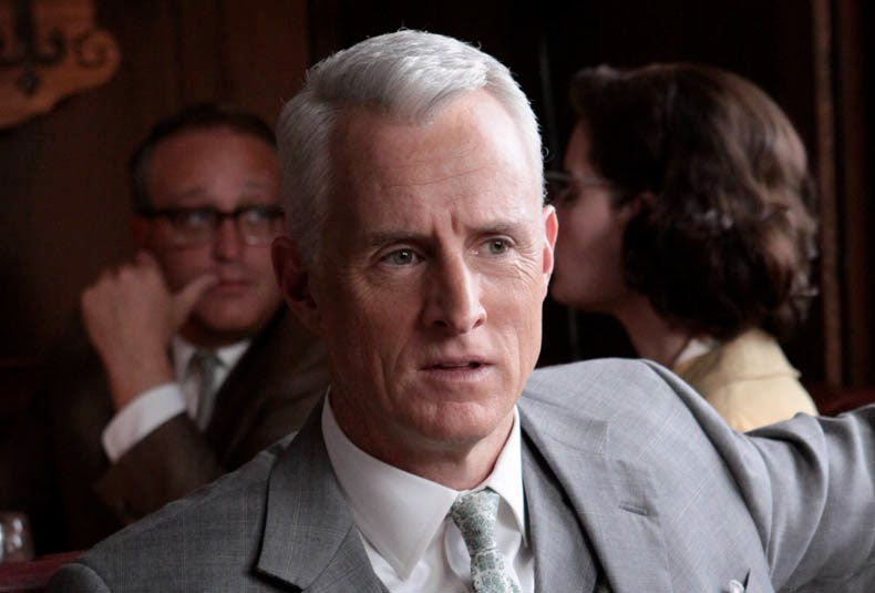 Roger Sterling wearing pale green floral tie