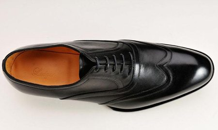 Black Leather Wing Tip Dress Shoe