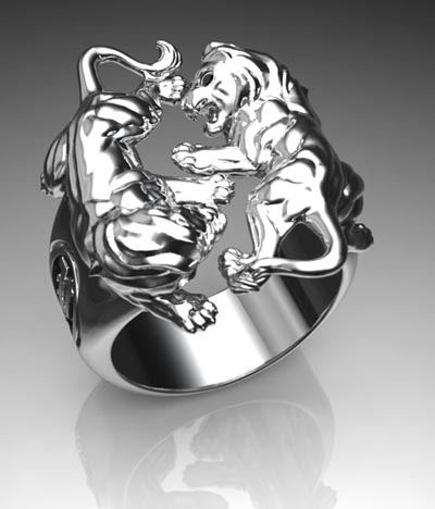 Silver lion men ring