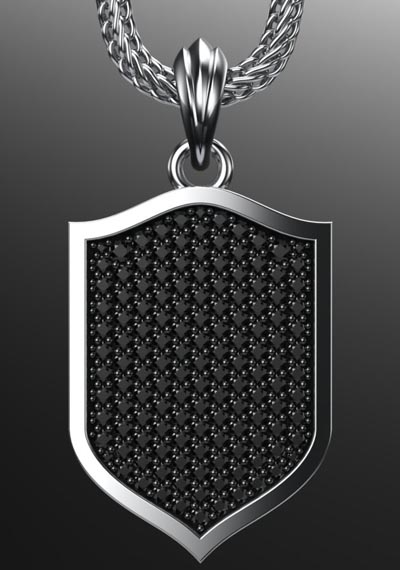 Paved Shield Pendant - 400