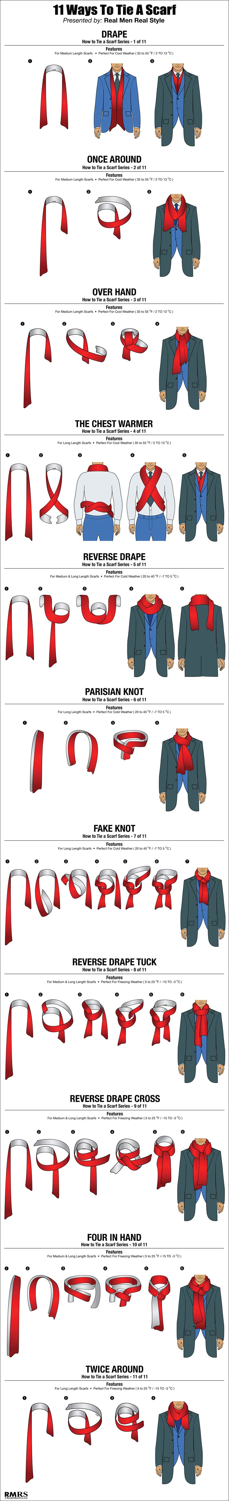 11 ways to tie a scarf for men